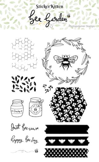 StickerKitten Bee Garden photopolymer stamp set