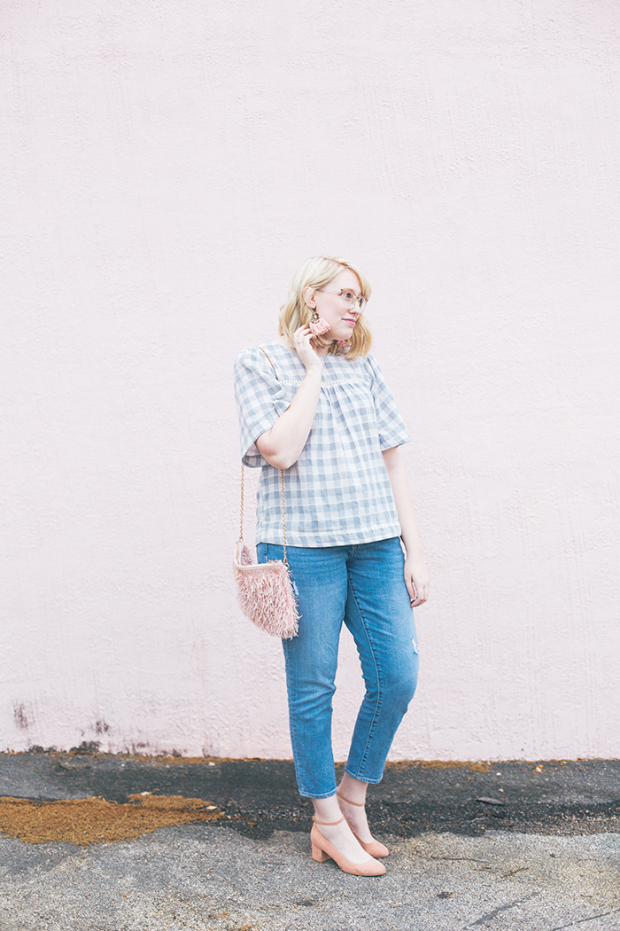 austin fashion blog gingham bell sleeves and blush7