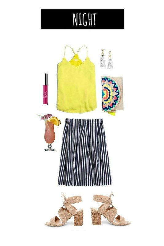 3 ways navy striped skirt for night | Style On Target