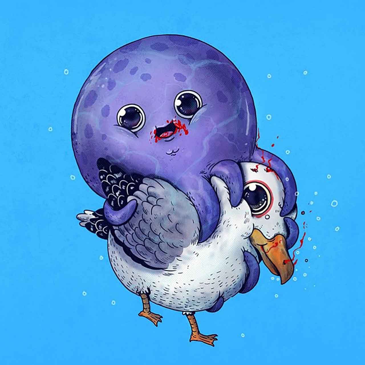 "Artist Creates Extremely Adorable ""Predator & Prey"" Illustrations #31: Octopus & Seagull"