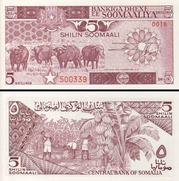 5 Šilingov Somálsko 1987, P31c