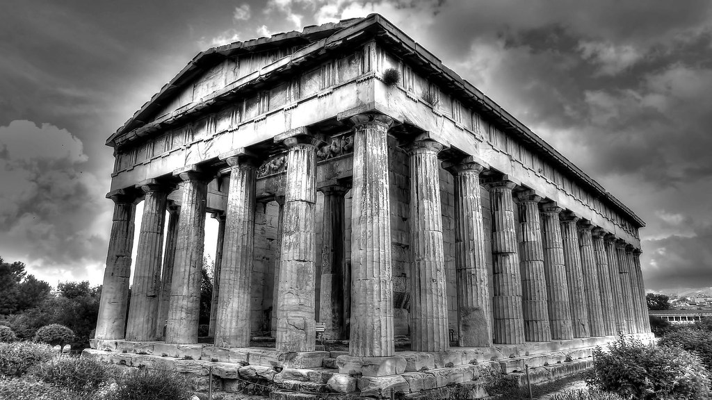 Temple Of Hephaestus Bw Ancient Agora Athens Greece