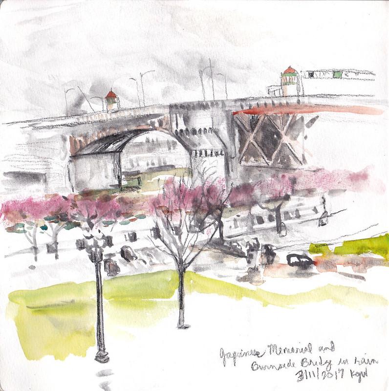 Burnside Bridge over Japanese American Historical Plaza