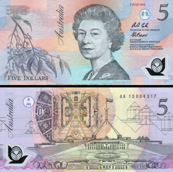 5 Dolárov Austrália 1992, polymer P50a