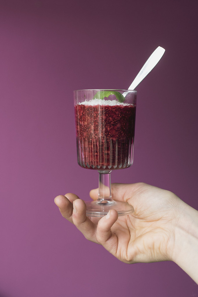 raspberry orange blossom chia pudding