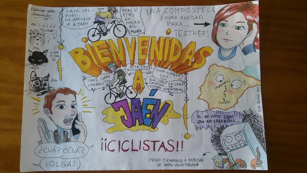 Cartel de bienvenida a Olga y Esther. Viaje en bici Madrid-Jaén.