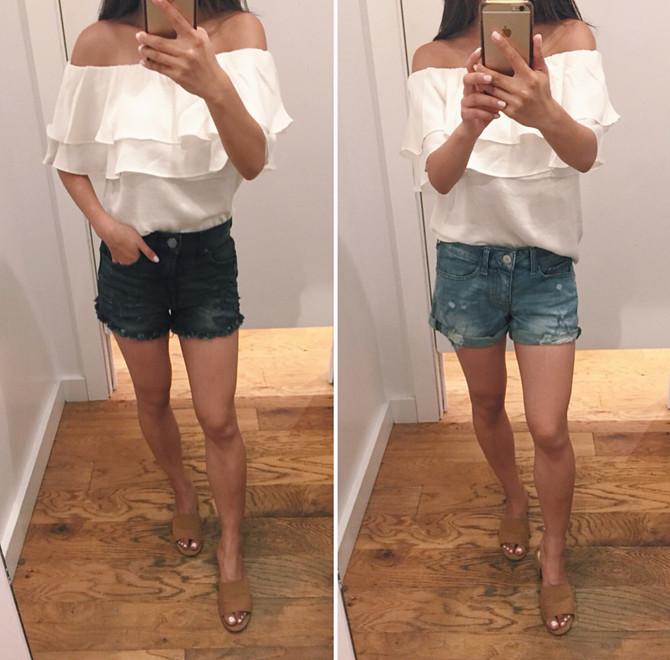 black cuffed cutoff denim jean shorts for petite women