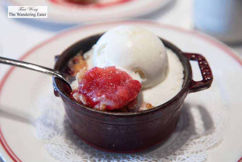 Spoon of rhubarb crisp