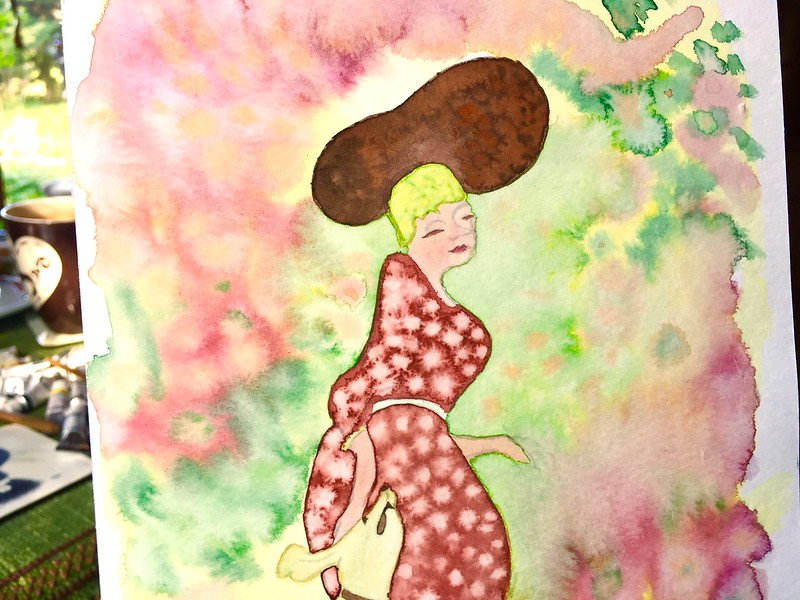 Bonnard inspired lady in the garden with dancing dog, water colour color aquarel