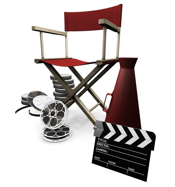 Clipart Illustration of a Red Director's Chair, Cone, Film Reels And ...