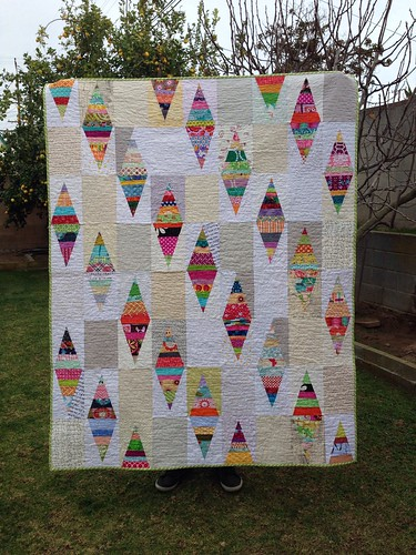 Sew.Quilt.Give. Finished Scrappy Triangles Quilt | by idreaminfabric