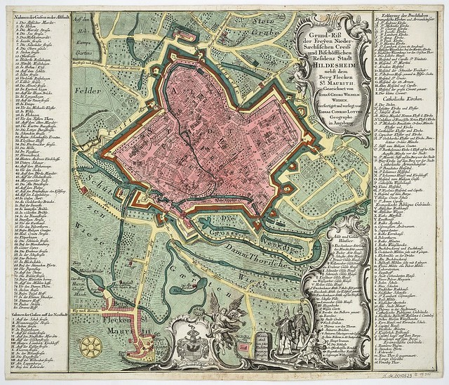 Historical Map of Hildesheim, Germany. Published around 1760 in Augsburg by Tobias Conrad Lotter, Draughtsman Iohann Georg Wilhelm Wiehen