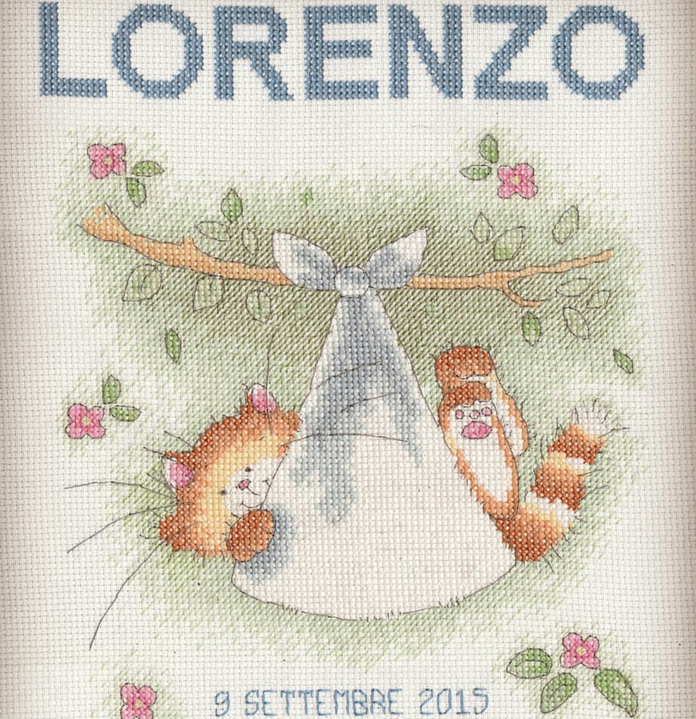 Finally delivered, this is a huge 2016 #crossstitch finish. Welcome baby for my best friend's son, Lorenzo. Filter: 60% of #Yogurt by @Pomelocam. photo: ©Dolci Fusa