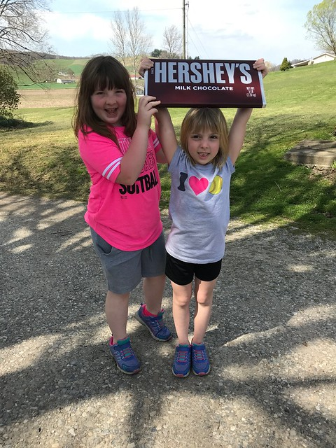 Lucy and Phoebe won the biggest chocolate bar I have ever seen