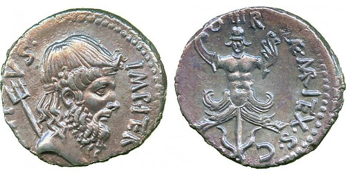 Silver Denarius of Sextus Pompey