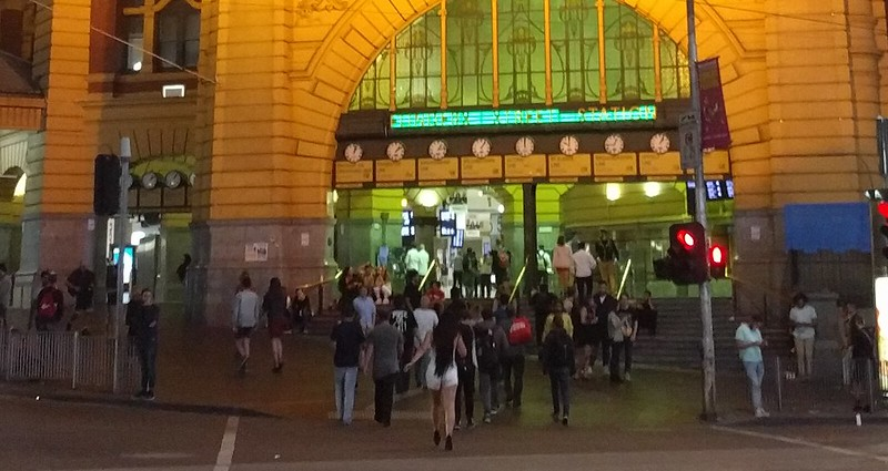 Flinders Street Station, 12:55am Saturday morning