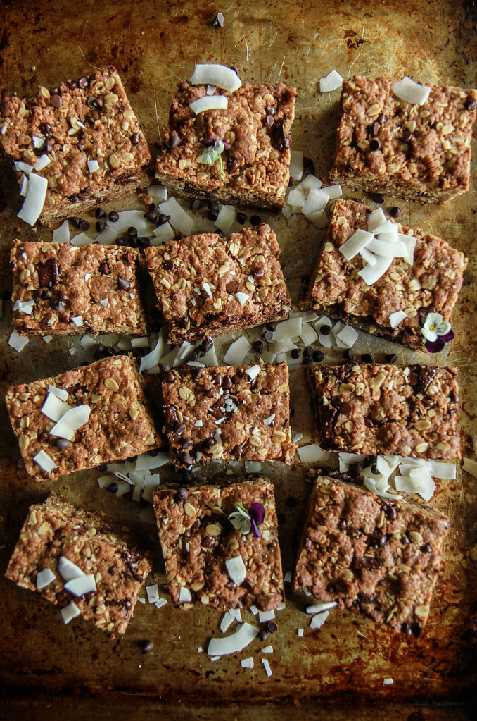 Chocolate Chia Oatmeal Cookie Bars- Vegan and Gluten Free from HeatherChristo.com