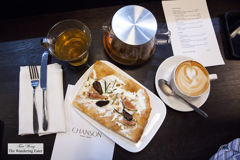 Flatbread topped with whipped ricotta, fresh and dried figs, fresh rosemary, truffle honey, hazelnuts, Bellocq Majorelle Mint tea, Stumptown Cappuccino