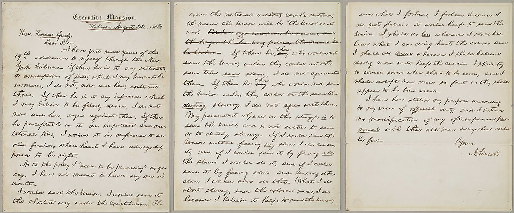 U S President Abraham Lincoln S Letter To Horace Greeley