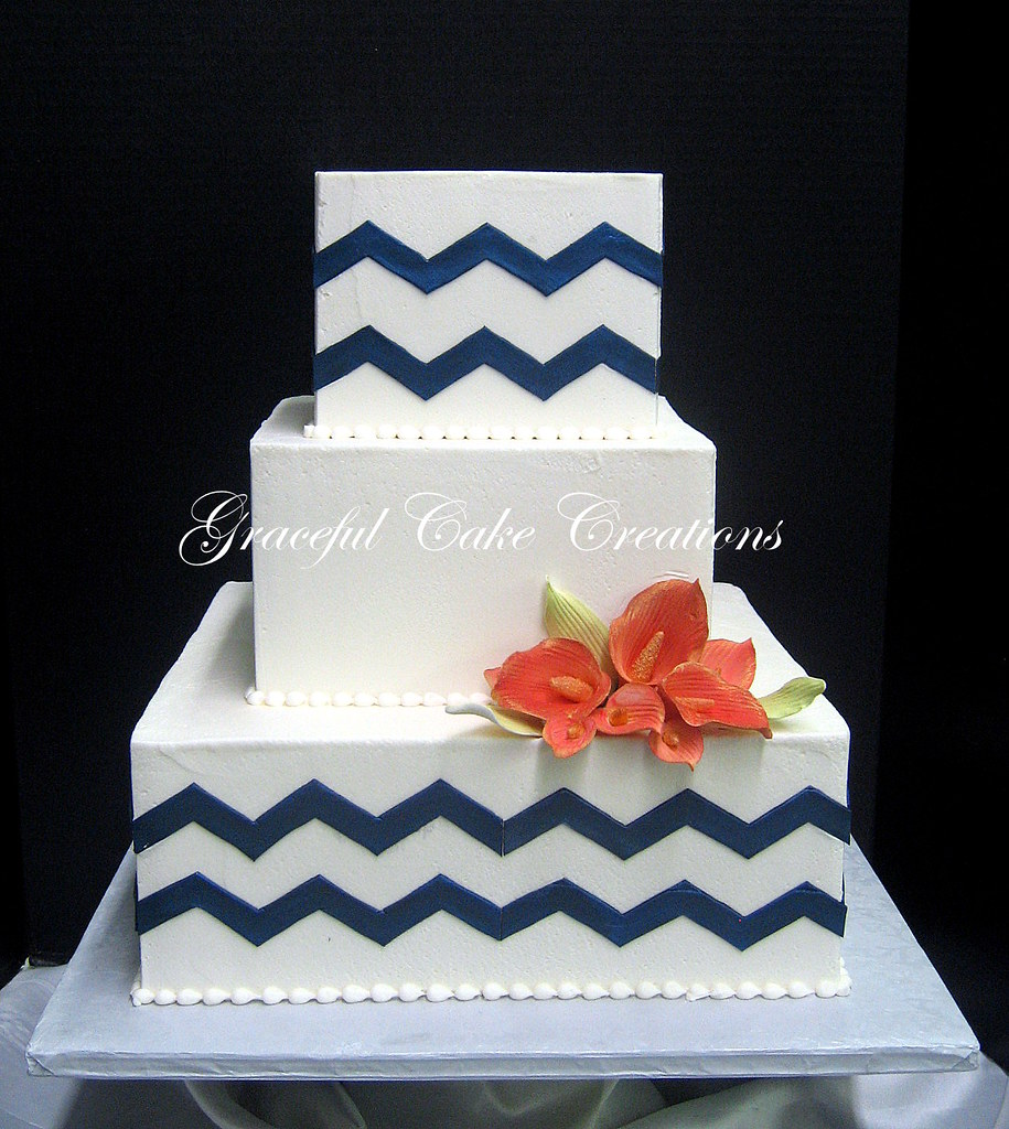 Simple And Elegant Square Wedding Cake with a Navy Blue Ch Flickr