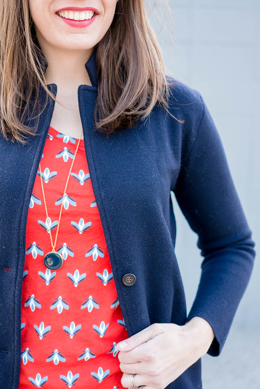 red pattern Loft tee + navy J.Crew sweater blazer + red Loft sunglasses + red J.Crew purse | Style On Target blog