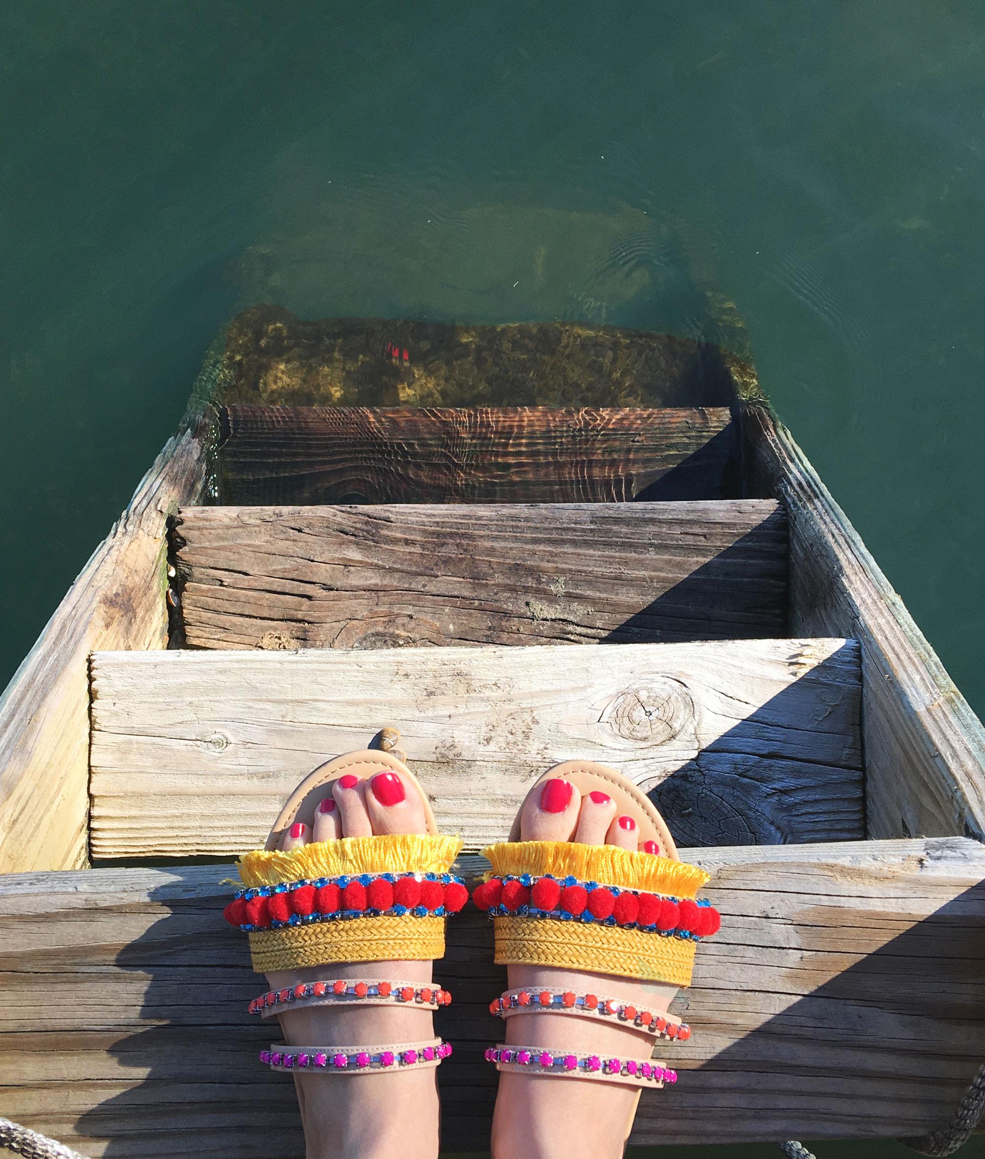 F21 tassel and pom pom sandals