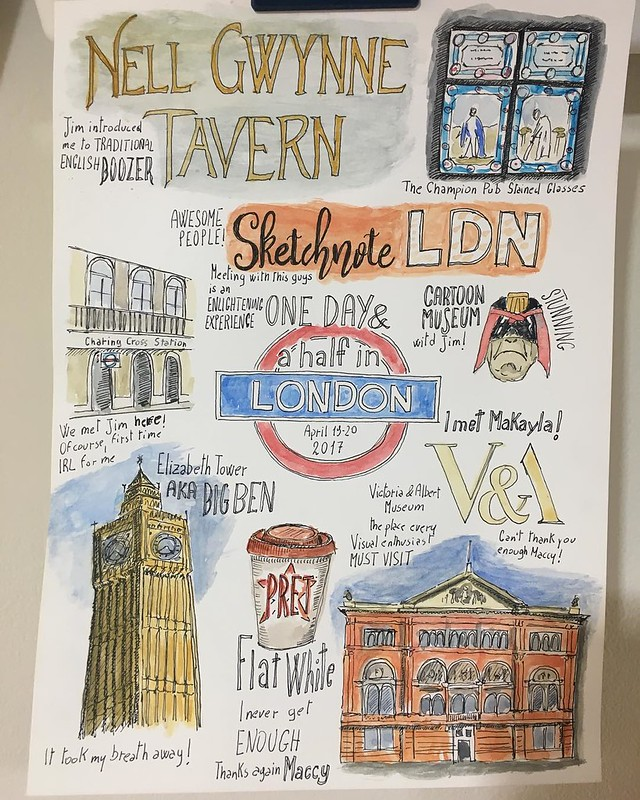 Finished. 2nd watercolor work ever and 1st time I do a #sketchnote specifically to be colored: bit step for me. I'm moderately happy with this. I have too much to recap so I selected the top moments spent with @maccymacx @eatyourgreens @nidhi_narula and @