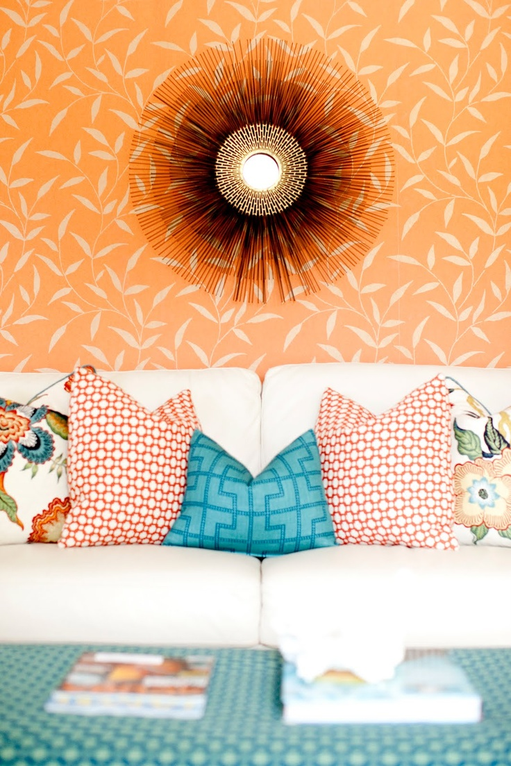 Orange and Aqua Living Room Decor | Orange Leaf Wallpaper
