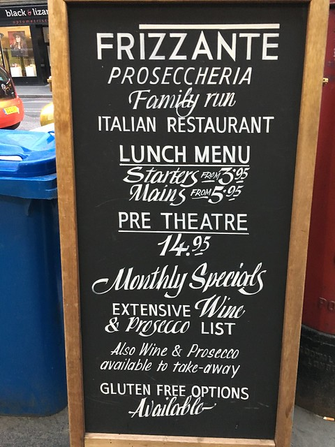 Edinburgh,  Frizzante menu board