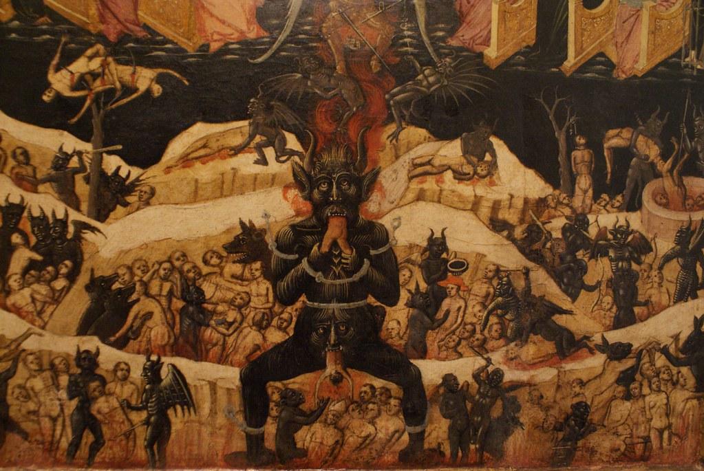 """Maestro dell'Avilenna """"Paradiso e inferno"""" (1435) à la Pinacothèque de Bologne."""
