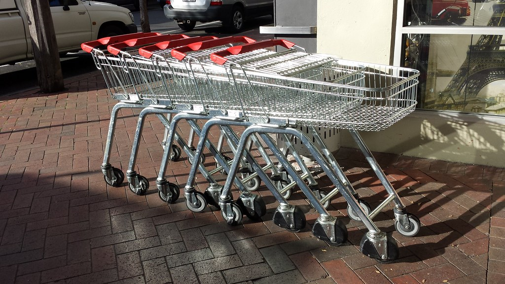 shopping trolleys at coles oakleigh fitted with a theft pr