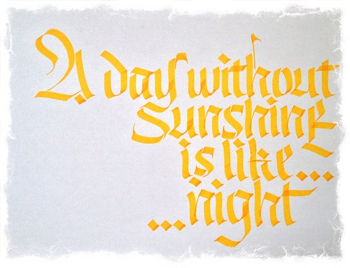 Calligraphy trying yellow ink and effects