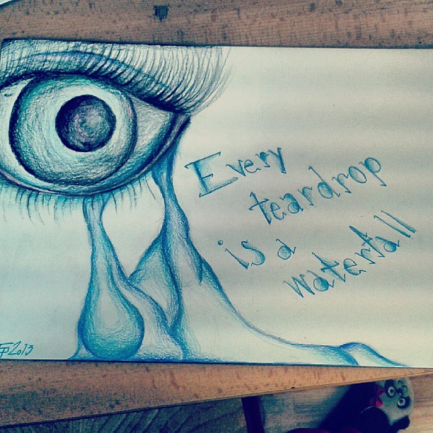 Blue Eye Crying Drawing Blue Colors Eye Crying