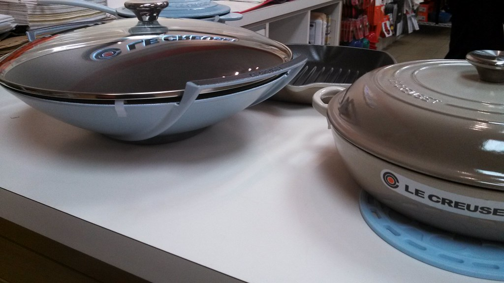 le creuset coastal blue wok and nutmeg braiser so pretty. Black Bedroom Furniture Sets. Home Design Ideas