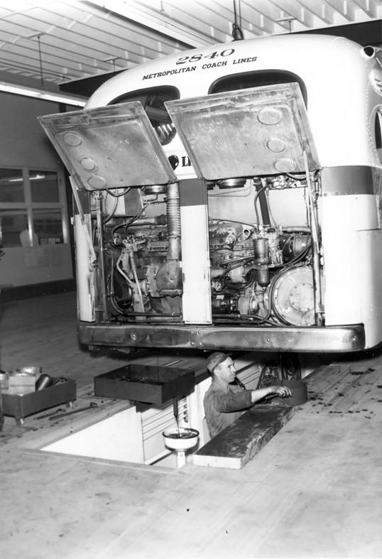 Mechanic Working On Bus No 2840 Metropolitan Coach Lines