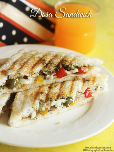 Grilled dosa sandwich recipe