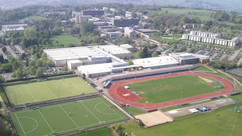 An aerial photo of the Claverton Down campus from 2009
