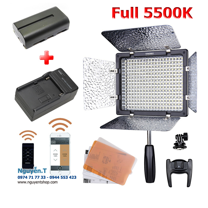 Bộ đèn led Yongnuo YN300III full 5500K remote - Pin sạc