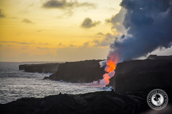 Watching Lava Pour Into Ocean on The Big Island