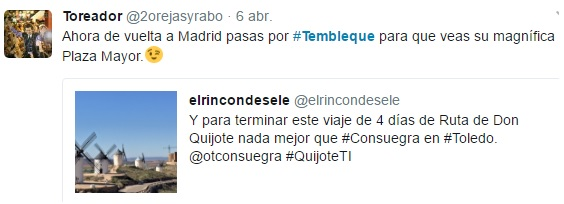 Tweet animándome a visitar Tembleque