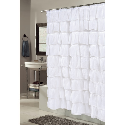 Carmen+Crushed+Voile+Ruffled+Tier+Polyester+Fabric+Shower+Curtain