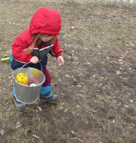 collecting all of the balls in her bucket