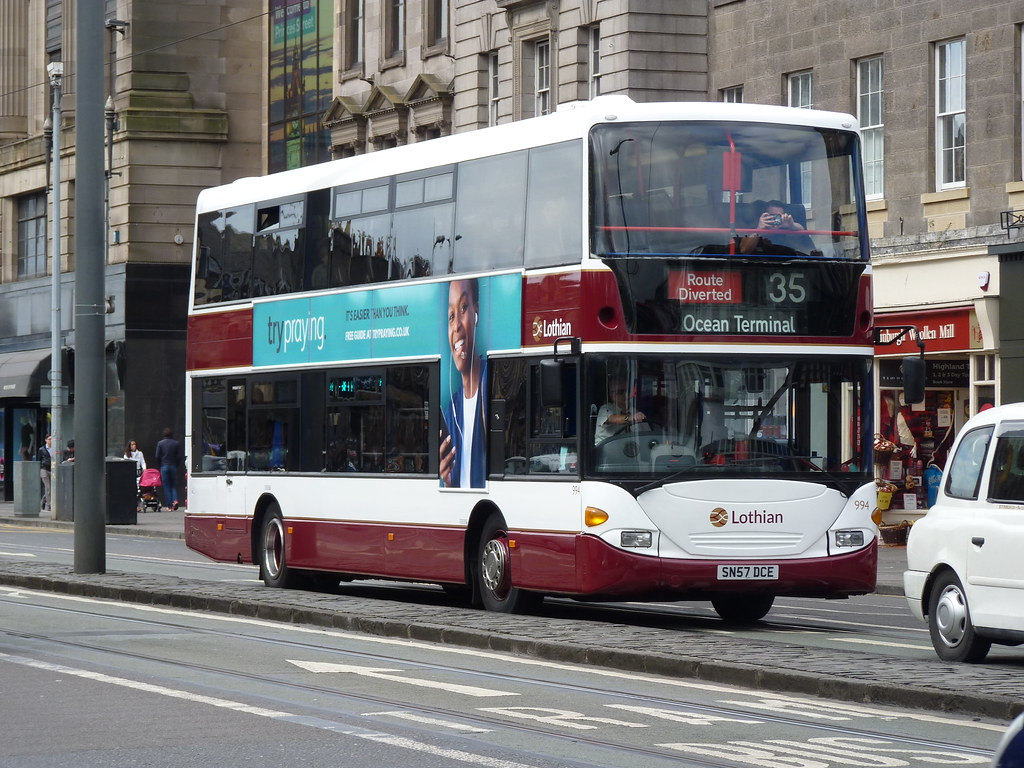 Lothian Scania Omnicity Cn94ud Sn57dce 994 Operating A Route Diverted Service 35 To Ocean Terminal At