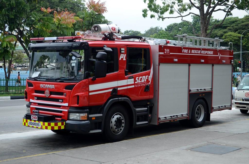 Singapore Civil Defence Force Scania P270 Pump Ladder Pl