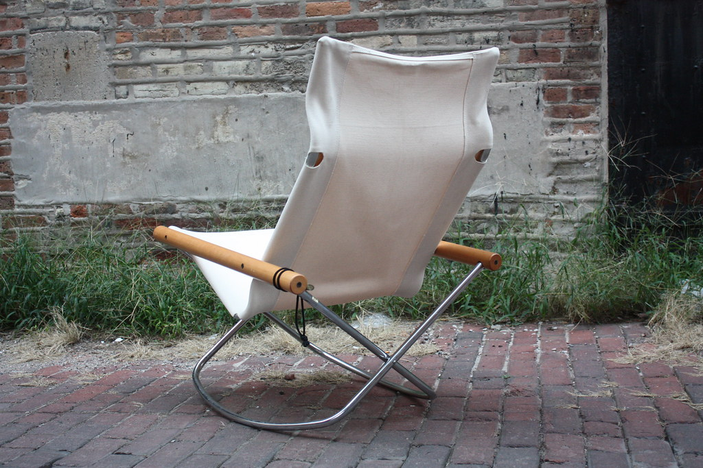 ... Takeshi Nii NY Folding Chrome And Canvas Rocking Chair (Japan, 1958) |  By