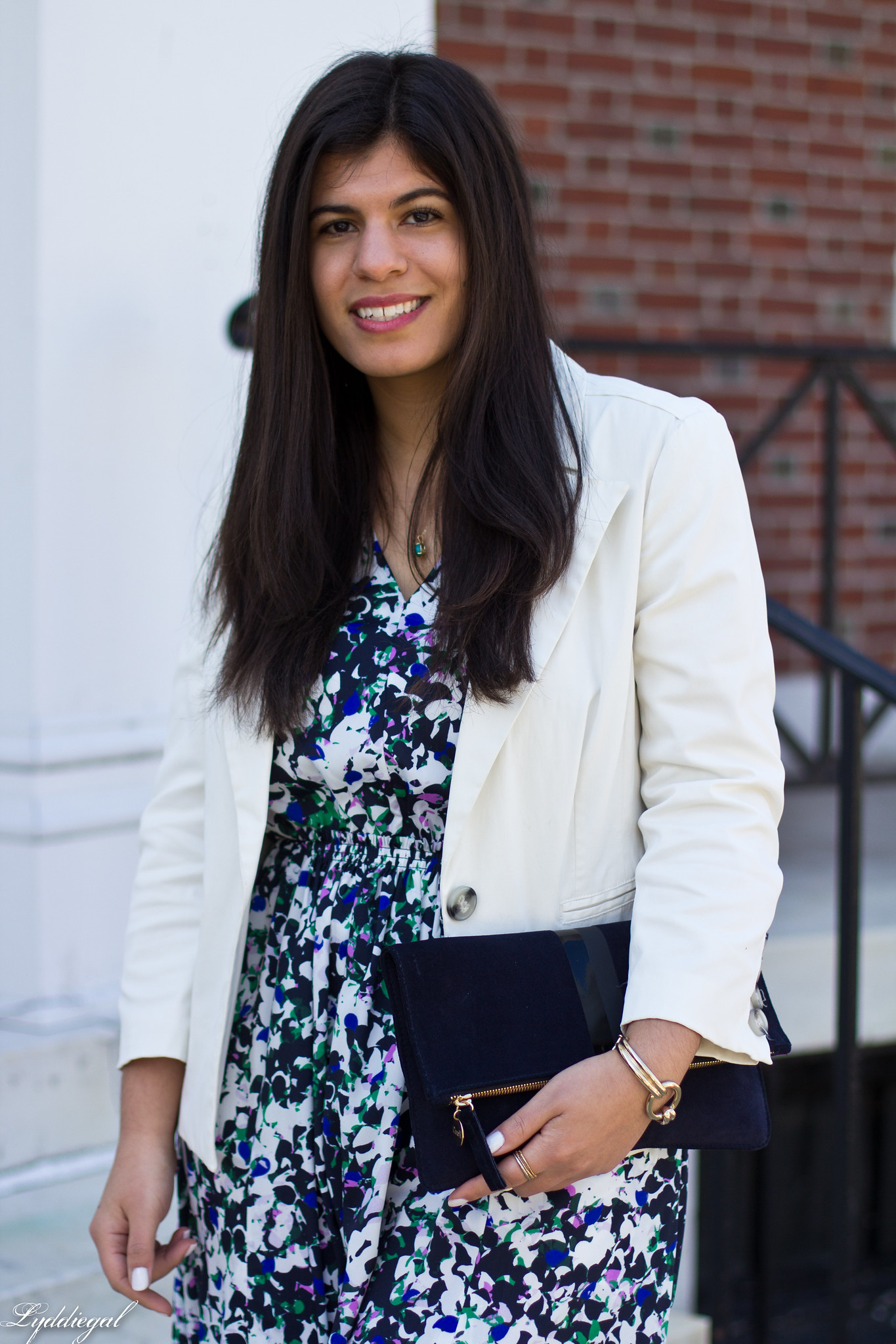 floral maxi dress, white blazer, green flats, clare v clutch-9.jpg