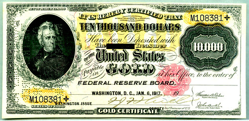 Series of 1900 $10,000 gold certificate