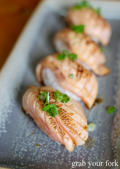 Aburi salmon sushi at Masaaki's Sushi in Geeveston, Tasmania