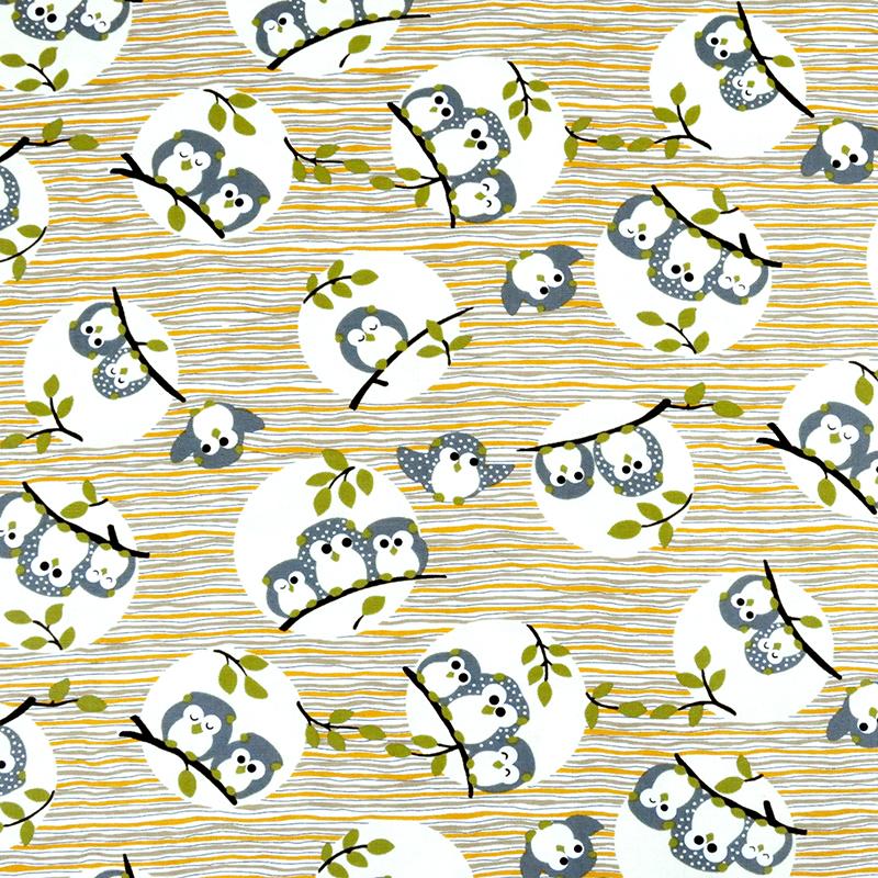 猫头鹰家族 条纹可爱动物 手工艺diy拼布布料 cf550574