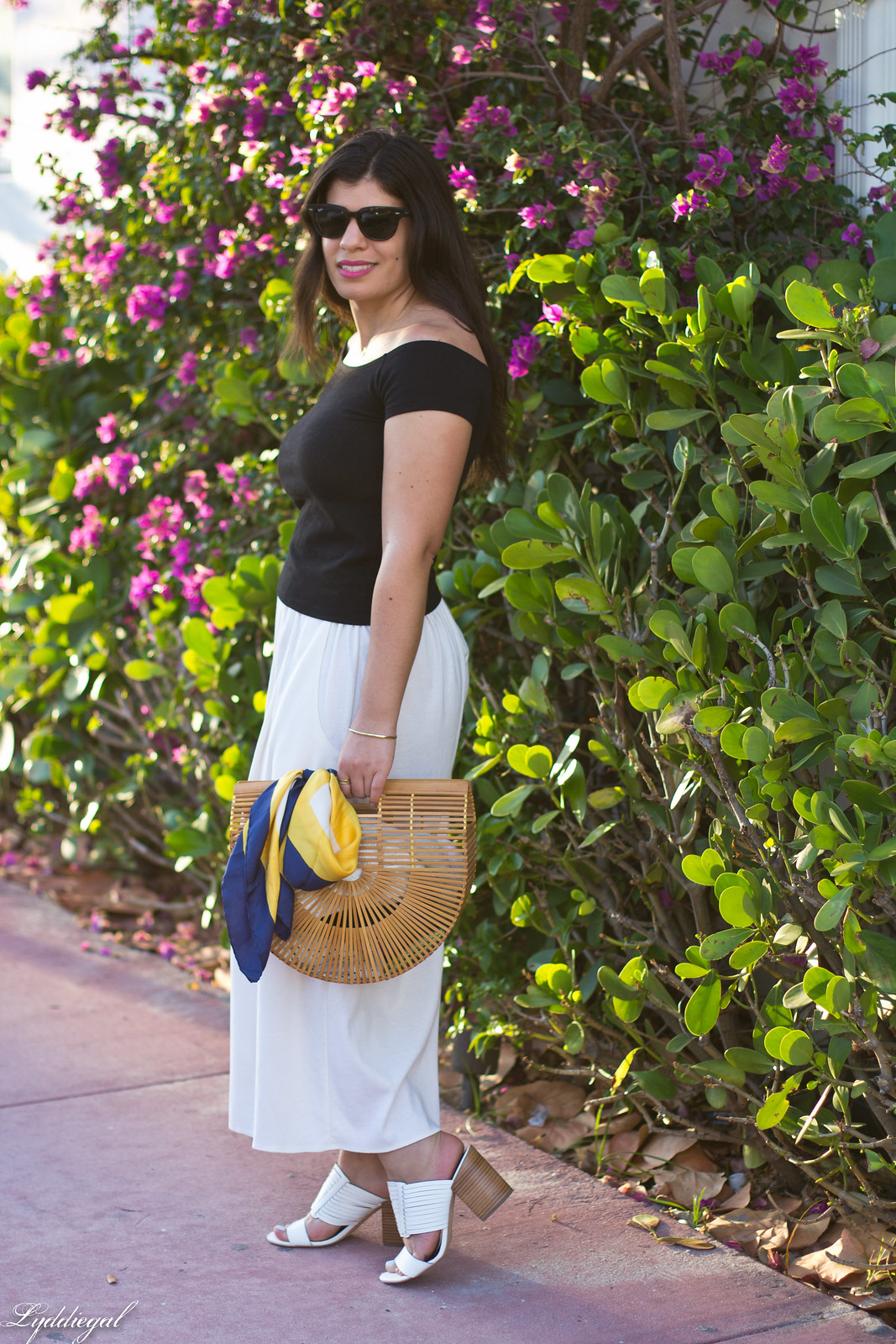 black off the shoulder tee, culottes, mules, bamboo handbag-4.jpg